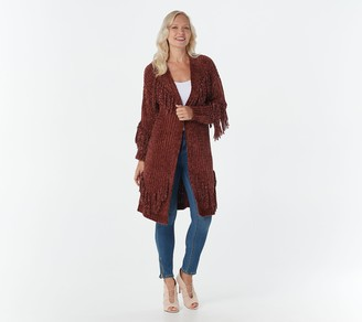 G.I.L.I. Got It Love It G.I.L.I. Open-Front Chenille Cardigan with Fringe Detail