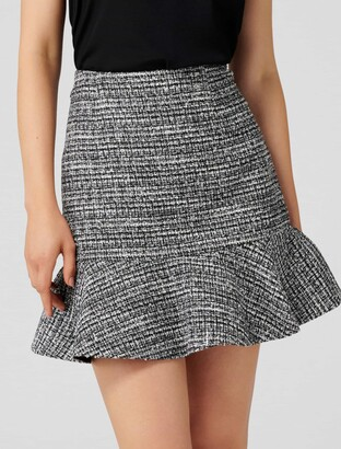 Forever New Kate Boucle Fit and Flare Skirt - Black Boucle - 14