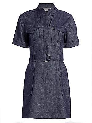 A.L.C. Women's Romi Linen-Chambray Short-Sleeve Belted Dress