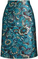 Dolce & Gabbana Mid-rise floral-jacquard pencil skirt