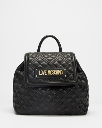 Love Moschino Women's Black Backpacks - New Shiny Quilted Backpack - Size One Size at The Iconic