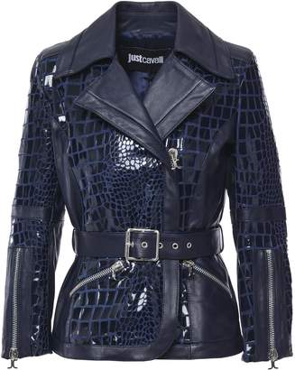 Just Cavalli Belted Croc-effect Suede And Leather Jacket