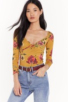 Womens Floral Sweetheart Wrap Crop Top - yellow - 4