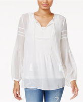 Tommy Hilfiger Sheer Split-Neck Top, Only at Macy's