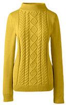 Lands' End Women's Drifter Cable Mock Neck Sweater-Fresh Tangerine