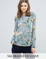 Y.A.S Tall Crane Printed Long Sleeve Top
