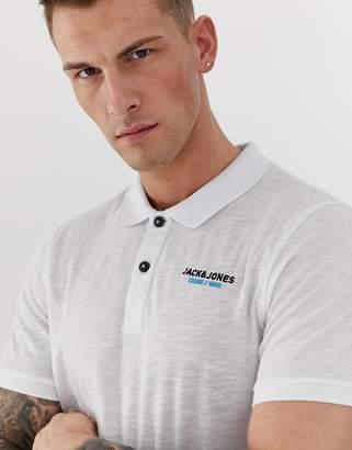 Jack and Jones Core slim fit chest branding polo in white melange