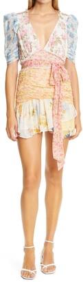LoveShackFancy Arlo Mixed Print Silk Georgette Minidress