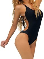 Mission-A Women Solid Sleek Sexy One-piece Swimwear Swimsuit with Strings L