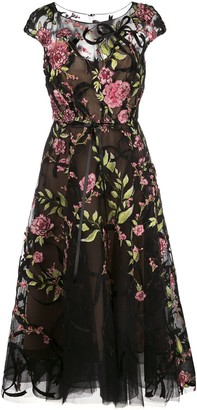 Marchesa Floral Embroidered Midi Dress
