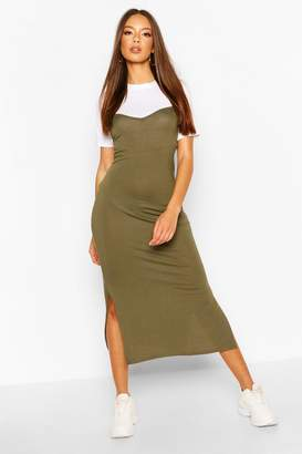 boohoo T-Shirt Layered Midaxi Slip Dress