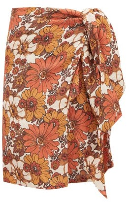 Dodo Bar Or Mosa Tie-front Floral-print Cotton Skirt - Womens - Brown Print