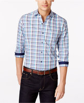 Tasso Elba Blue Fancy Gingham Big & Tall Shirt, Only at Macy's