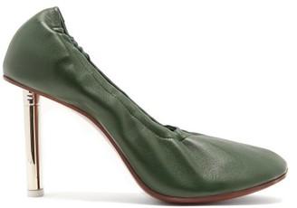 Vetements Lighter-heel Leather Ballerina Pumps - Dark Green
