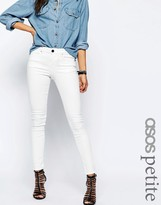 Asos Lisbon Skinny Mid Rise Jeans in Valencia Off White