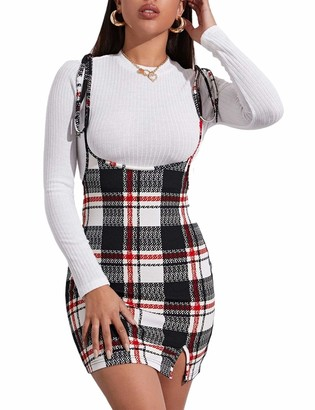 Huyghdfb Women Skirts Tie Knot Shoulder Straps Suspender Plaid Bodycon Mini Pencil Skirt Overall Dress (Black S)