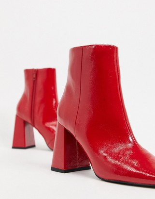 ASOS DESIGN Express heeled ankle boots in red patent