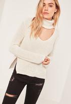 Missguided White Side Split Turtleneck Sweater