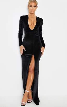 PrettyLittleThing Black Velvet Plunge Split Leg Maxi Dress
