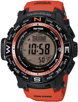 Casio Pro Trek Triple Sensor Mens Orange Resin Solar Sport Watch PRW3500Y-4