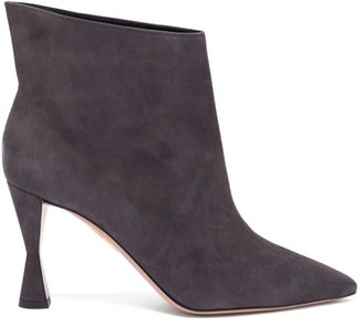 Aquazzura Sky 85 Suede Ankle Boots - Grey