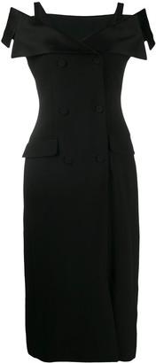 Alberta Ferretti Bardot-Neckline Blazer Dress