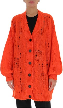MSGM Distressed Knitted Long Cardigan