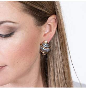 Kenneth Jay Lane Grey Shell With Pearl Tip Clip Earrings