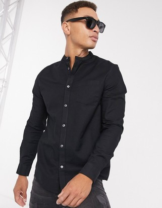 Burton Menswear long sleeve oxford with grandad collar in black