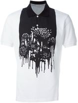 Alexander McQueen floral and paint print polo shirt