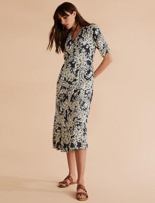 Marks and Spencer Floral V-Neck Midaxi Waisted Dress