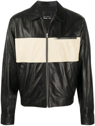 Marni Two-Tone Zipped Leather Jacket