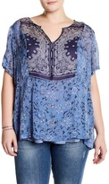 Lucky Brand Scarf Print Blouse (Plus Size)