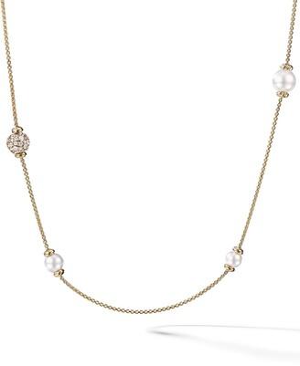 David Yurman 18kt yellow gold Solari long station pearl and diamond necklace