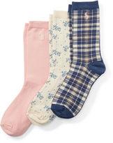 Ralph Lauren 7-16 Plaid Trouser Sock 3-Pack