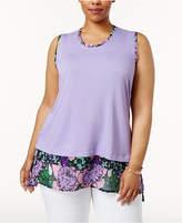 Melissa McCarthy Trendy Plus Size Printed-Hem Shell
