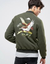 Asos Souvenir Jacket In Soft Handle With Eagle Embroidery In Khaki