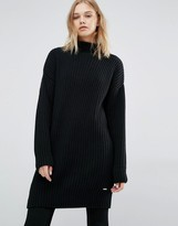 Dr. Denim High Neck Oversized Rib Knit Jumper
