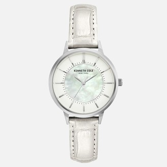 Kenneth Cole White Metallic Watch with Mother of Pearl Dial