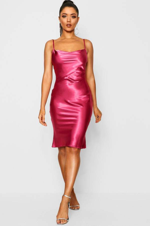 boohoo Satin Cowl Neck Midi Slip Dress