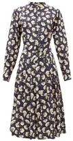 Chloé Belted Pintucked Floral-print Silk Shirtdress - Womens - Dark Blue