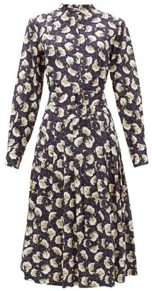 Chloé Belted Pintucked Floral-print Silk Shirt Dress - Womens - Dark Blue