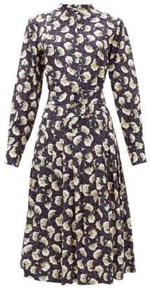 Chloé Belted Pintucked Floral-print Silk Shirtdress - Womens - Dark Blue