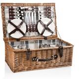 Pottery Barn Bedford Woven Picnic Basket, Set for 4