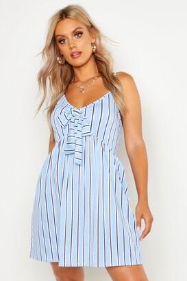 boohoo Plus Stripe Print Tie Front Strappy Sundress