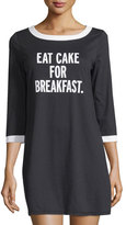 "Kate Spade Eat Cake"" Jersey Sleepshirt, Black"