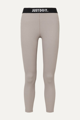 Nike Ribbed Stretch Leggings - Mushroom