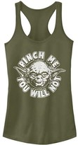 Fifth Sun Women's Tank Tops MIL - Star Wars Military Green Yoda 'Pinch Me' Racerback Tank - Women & Juniors