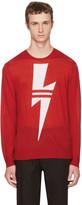 Neil Barrett Red Double Stripe Thunderbolt Sweater
