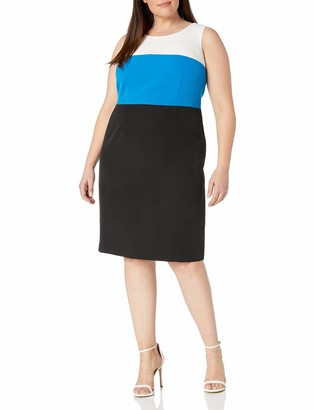 Kasper Women's Plus Size Tri Tone Sheath Dress